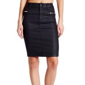 7FAM High Waisted Coated Black Denim Pencil Skirt